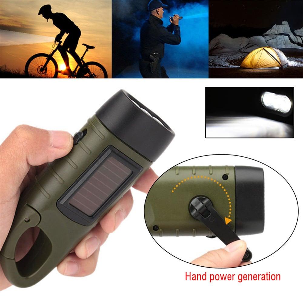 toltheto kezi forgattyus dinamos napelemes aramellatasu led zseblampa 1 - Tölthető, kézi forgattyús dinamós, napelemes áramellátású LED zseblámpa