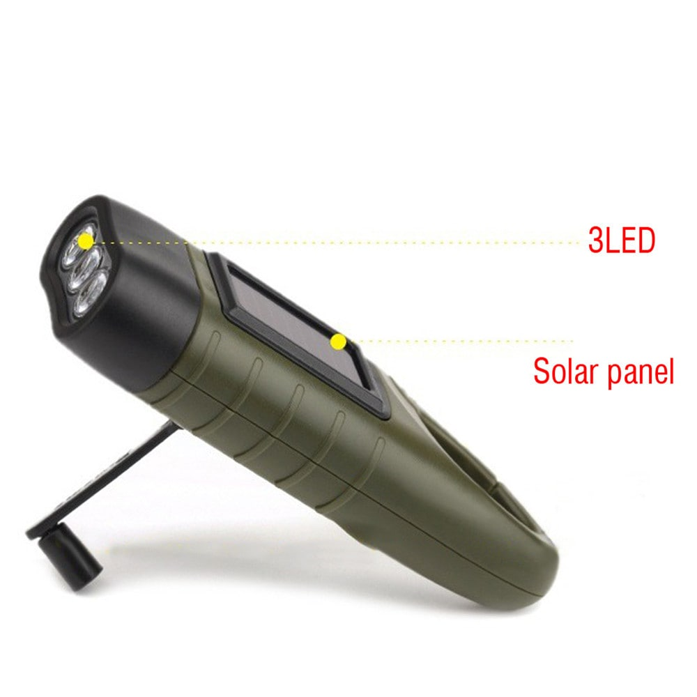 toltheto kezi forgattyus dinamos napelemes aramellatasu led zseblampa 3 - Tölthető, kézi forgattyús dinamós, napelemes áramellátású LED zseblámpa