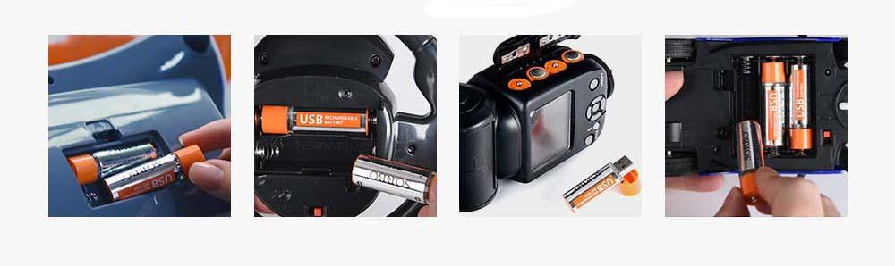 usb ujratoltheto aa akkumulator a facemaster 1 5v 4db 1 - USB újratölthető AA akkumulátor a FaceMaster 1, 5V 4db
